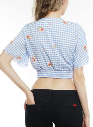 Short sleeve smocked v-neck crop top. Bt-2215 Plaid Blue