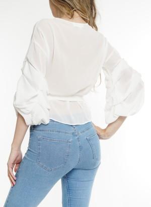 Ruffled long-sleeves tie-waist wrap chiffon top. BT-2254-White
