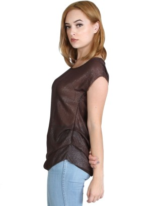 Cap sleeve, round neck, key hole back lurex top with layered side pleats. WH-BT16793-CHOCOLATE