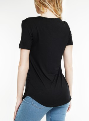 Cut-out front with Jewelry-accent  neckline short-sleeve top. BT1998-Black