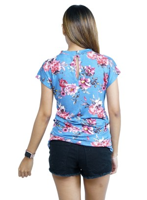 Short Sleeve Choker Floral Printed Top FH-BT2195P-BLUE