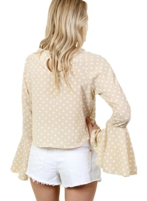 Women's round neck long sleeve top with bell sleeves and buttoned back collar. FH-BT2220-BEIGE