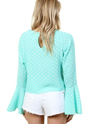 Women's round neck long sleeve top with bell sleeves and buttoned back collar. FH-BT2220-TEAL