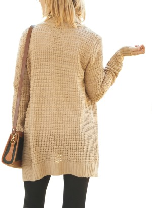 Waffled Open Cardigan.BFT-110918-TAUPE