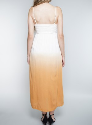 Spaghetti Straps Tie-Front Detail Dip-Dyed Dress. CD2376-EN0-Ivory/Orange