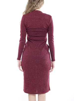 Snap-Button Rib-Knit Bodycon Midi Sweater Dress CD2479-ERJ-Burgundy