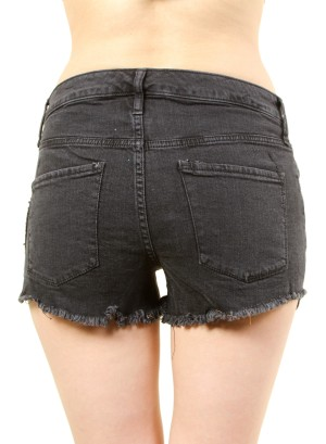 WOMEN'S HIGH RISE SHORTS WITH PATCHES. FH-MBB019864-BLACK