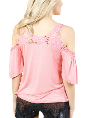 WOMEN'S PINK LACE COLD SHOULDER TOP. FH-J010-PINK