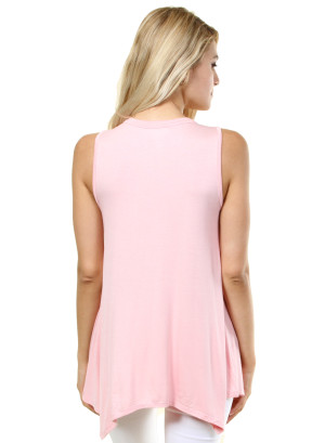 Solid sleeveless round neck that features the neck collar. WH-D0288S-LIGHTPINK