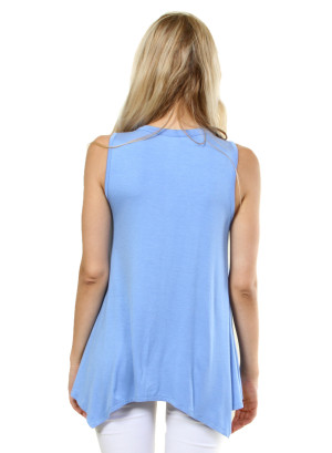 Solid sleeveless round neck that features the neck collar. WH-D0288S-SKYBLUE