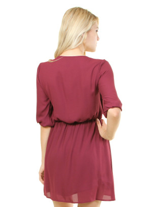 Half Sleeved v-neck dress with a designed undershirt. WH-D12780-MAROON