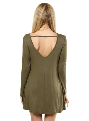 Long sleeve dress with a scooped collar on the back. WH-D373-OLIVE
