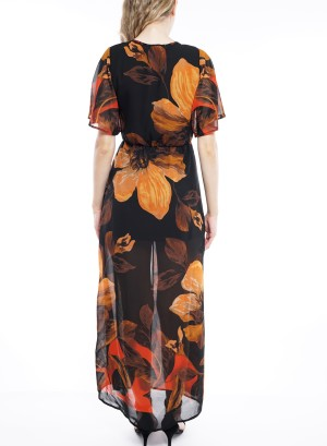 Short flare sleeve button down maxi dress DBGU972-Black/Orange