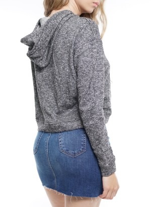 Long Sleeve Tie-Up Front Hooded  Crop Sweater. DN1066-Charcoal