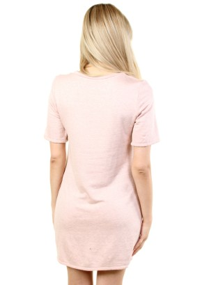 WOMEN'S ZIP-PATCH POCKET, SOLID SHIFT DRESS. FH-MBD7125-SALMON