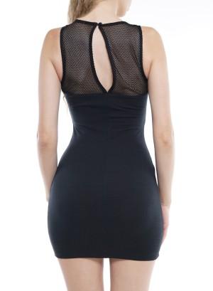 Sleeveless Back Cut-Out Lace-Up Mini Dress DREW580-Black