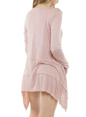 Shark bite Long sleeve Tunic top ET62692-Pink