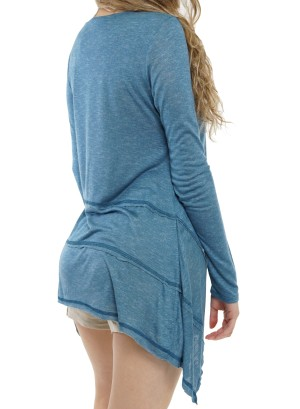 Shark bite Long sleeve Tunic top ET62692-Denim Blue