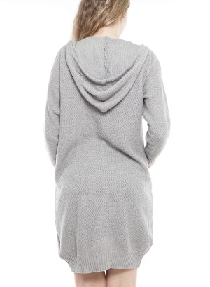 Long Sleeve Front-Pockets Button-Down Hooded Cardigan. FD2612-Grey