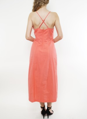 Spaghetti-adjustable-straps, zip-closure back featuring a slit-front linen midi dress. Fl19C853-Sand