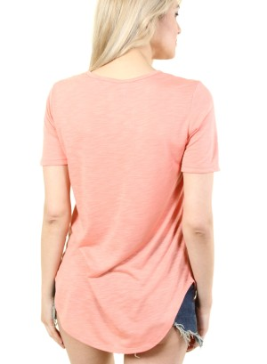 SOMEWHERE , NOWHERE, EVERYWHERE LACE UP TEE. FH-N244-CORAL