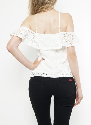 Halter-off-shoulder ruffled lined crochet top.  FTK7770-White