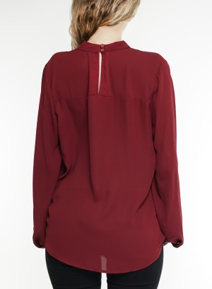 Chocker cut-out long sleeves wrap top. G9130-Burgudy