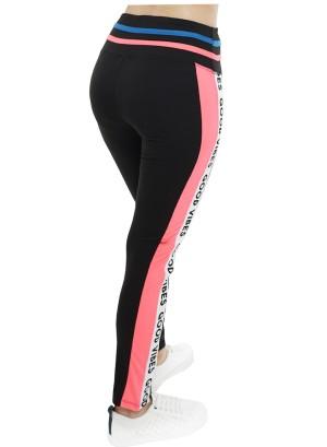 """Banded waistline """"Good Vibes"""" print stripe-side active leggings. 45184R21A-Black-NeonPink"""