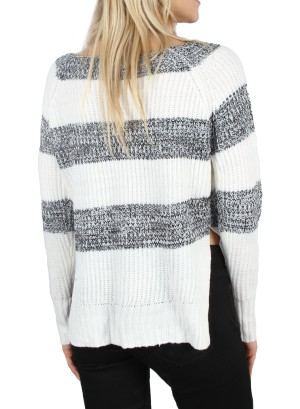 Boat neck Stripe Split-sides Hi-low Pullover. LC-112618-BLACK.WHITE