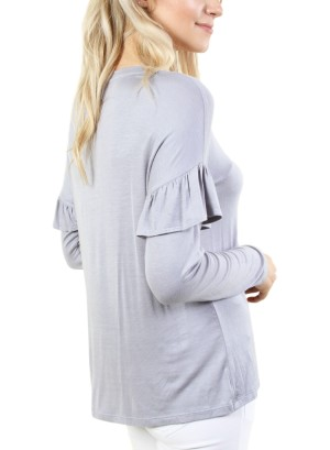 Women's long sleeve round neck top with bell sleeves. FH-MT7KI3BC4-GREY