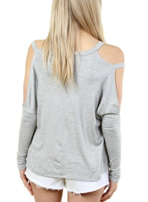 COLD-SHOULDER LONG SLEEVE TOP . FH-MBT2106-GREY