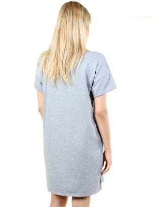 Women's cold shoulder top dress with graphic. FH-MBD7095-GREY