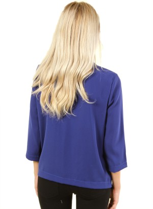 Open front top with 3/4 sleeves and shawl collar. FH-HT2421-INDIGO