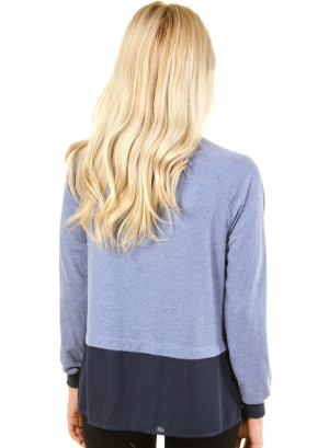Long sleeve zip op top with bomber jacket collar and two split hems on bottom FH-HT5476-BLUE