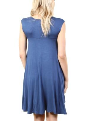 Women's basic sleeveless dress with round collar. FH-SJ1204-INDIGO