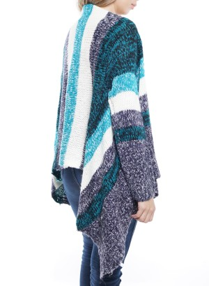 Long Sleeve Flare Asymmetrical Open Cardigan. J14013-Peacock-Grey