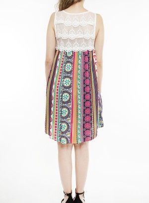 Sleeveless lace-detail lined, Geo-printed shift dress.J2660-1-Pink Floral