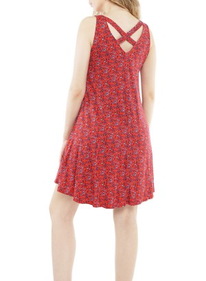 Sleeveless V-neckline crisscross back floral printed swing dress J6491M512-Red Floral