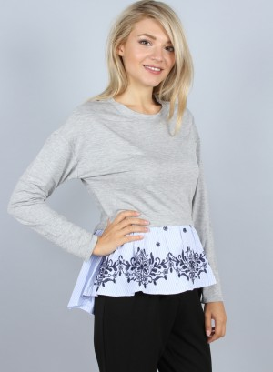 FLORAL EMBROIDERED PEPLUM TOP. J70571CAKT-GREY