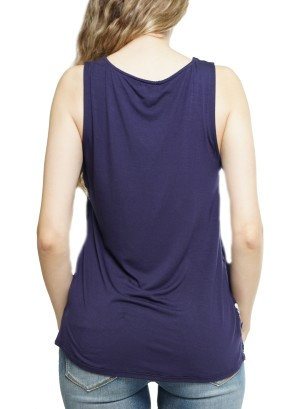 Lace-trim embroidery detail sleeveless top J73210MB88M-Navy