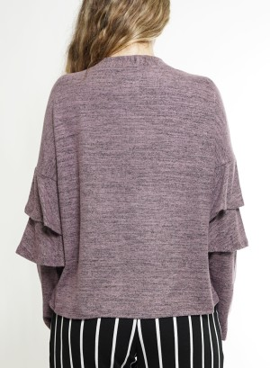 Layered Flare Sleeve Open Cardigan JCF7K18H-Lilac