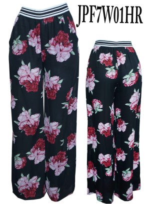 Striped-banded Floral chiffon square pants. JPF7W01HR-BLACK FLORAL
