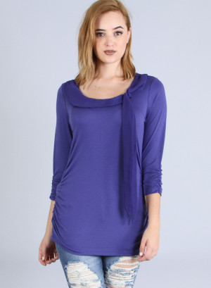 Boat neck, long sleeves ruched detailed top featuring a chiffon bow front.L1112 NAVY
