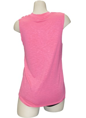 Sleeveless braided-shoulder burn-out top.LA5060UC1-CORAL