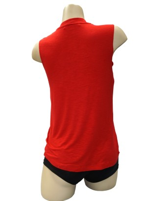 Sleeveless braided-shoulder burn-out top.LA5060UC1-RED