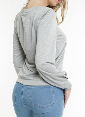 Long sleeves ring-detail front Sweatshirt. LDTC-G21432H- HeatherGrey