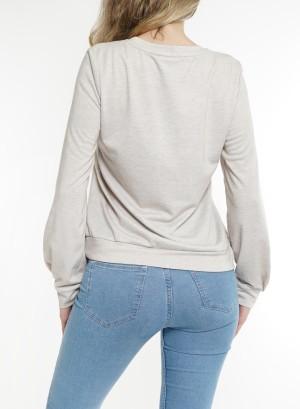 Long sleeves ring-detail front Sweatshirt. LDTC-G21432H-LightMocha