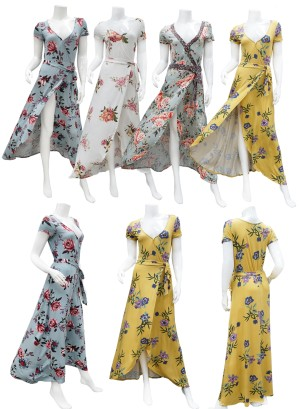 Short sleeves- tie-waist tulip-front floral maxi dress. LF0578I90-MINT