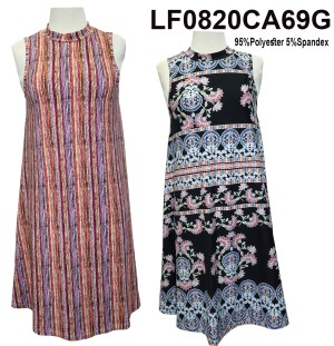 Mock-Neck sleeveless paisley/floral  printed swing dress. LF0820CA69G-Multicolor Stripes