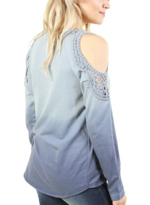 Women's cold shoulder long sleeve ombre top. FH-17730-BLUE